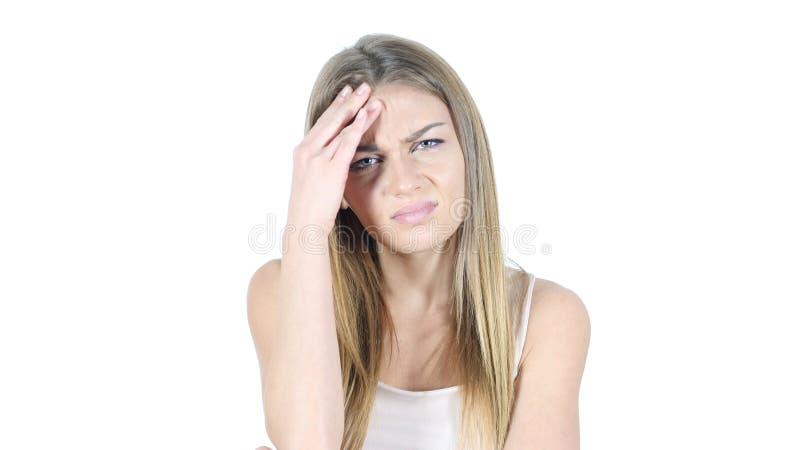Migrena, frustracja, napięcie, Przygnębiona młoda kobieta zdjęcia royalty free