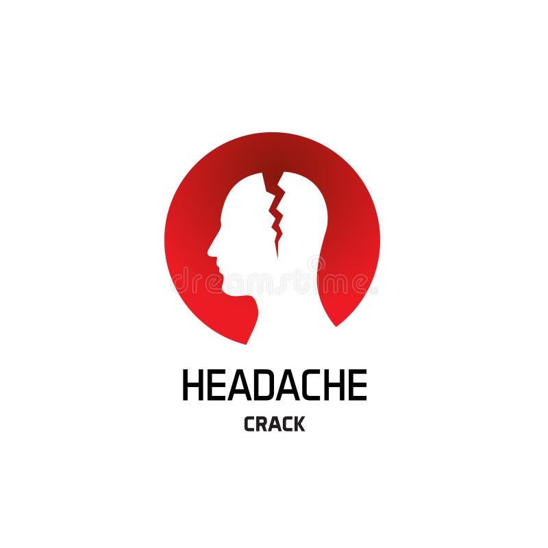 Migrena logo z pęknięciem w głowie royalty ilustracja
