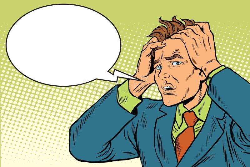 Migrena mężczyzna surowy ból ilustracja wektor