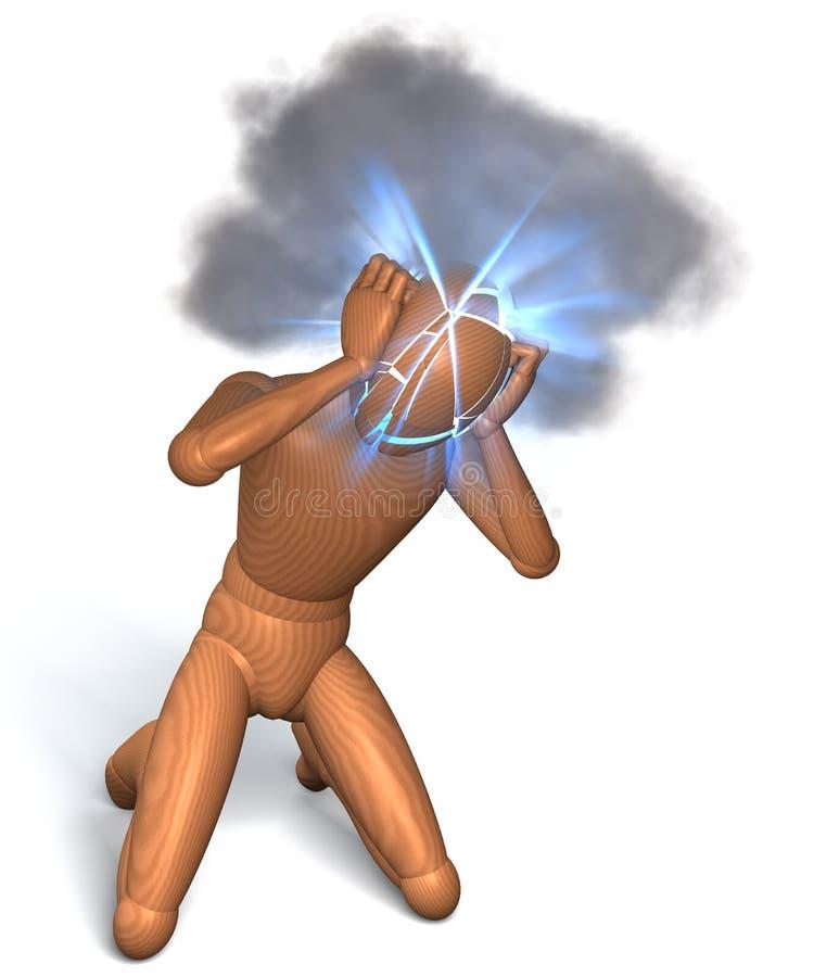Migrena, migrena na białym tle ilustracja wektor