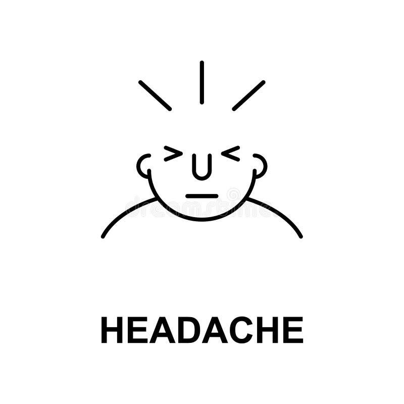 migrena na umysł ikonie Element ludzki umysł ikona dla mobilnych pojęcia i sieci apps Cienka kreskowa migrena na umysł ikonie moż ilustracji