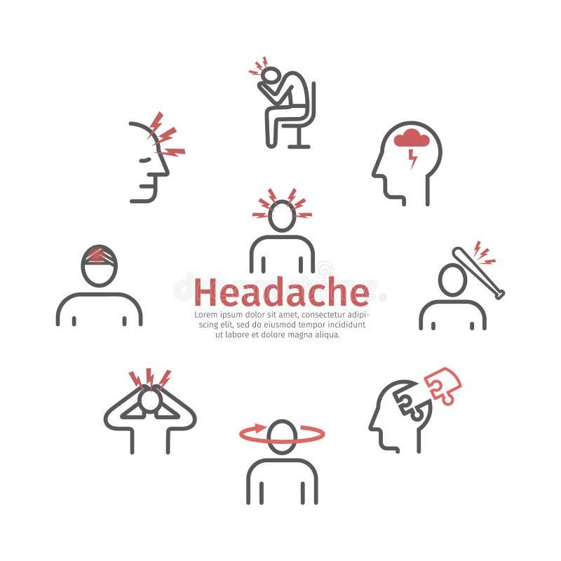 Migrena sztandar Kreskowe ikony objawy Wektorów znaki dla sieci ilustracja wektor
