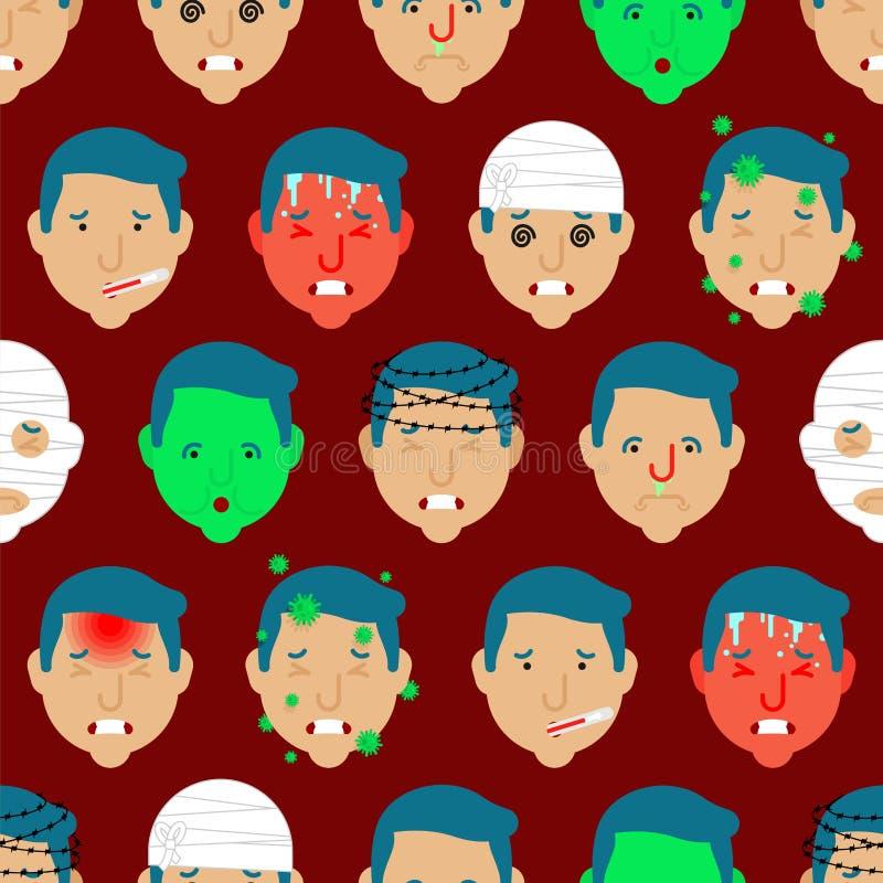 Migreny deseniowy bezszwowy Kierowniczy Bólowy tło Wstrząs mózgu i zimno Wysokiej gorączki i upału infekcja Grypowy wirus Mdłość  royalty ilustracja