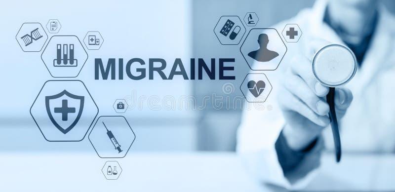 Migreny migreny g?owy b?lu chorob simptome lekarstwa opieki zdrowotnej poj?cia Medyczny sztandar zdjęcie royalty free