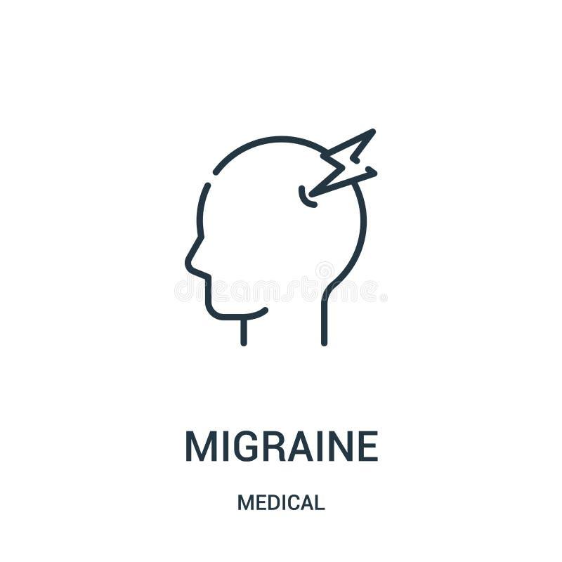 migreny ikony wektor od medycznej kolekcji Cienka kreskowa migrena konturu ikony wektoru ilustracja royalty ilustracja