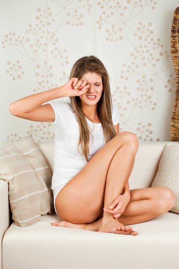 migreny kobiety potomstwa fotografia stock