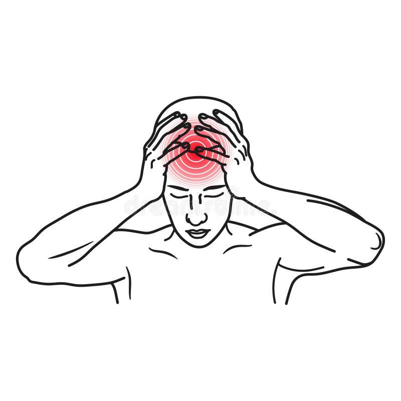Migreny kreskowej sztuki ikona, stres i migrena, ilustracji