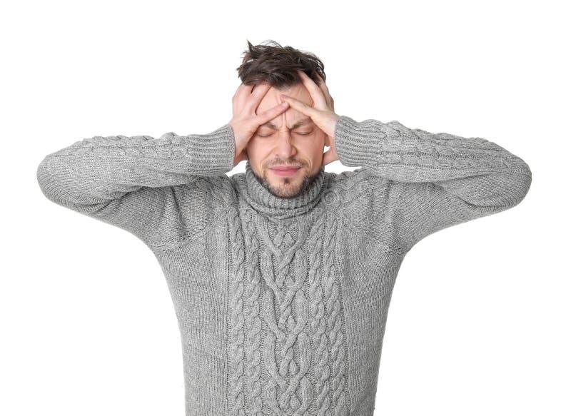 migreny mężczyzna cierpienie zdjęcia stock
