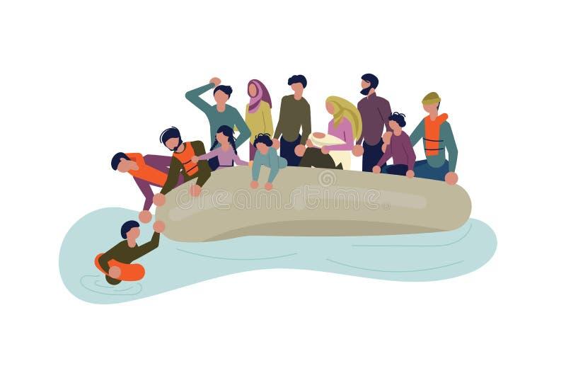 Migrerende mensen in boot stock illustratie