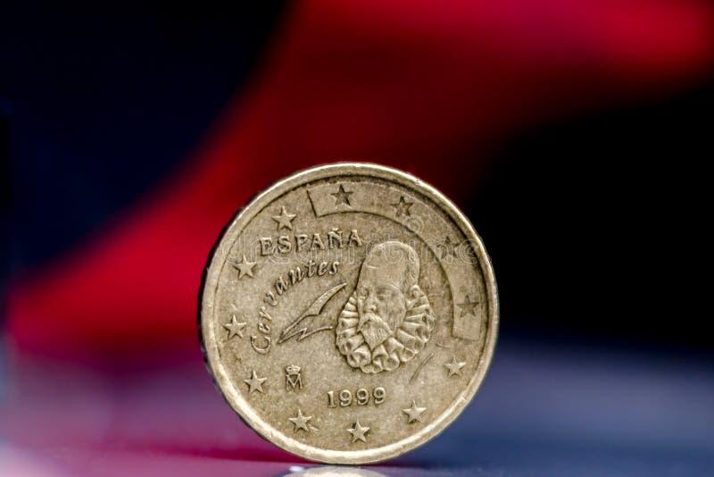 Miguel Θερβάντες στο ευρο- νόμισμα στοκ εικόνα