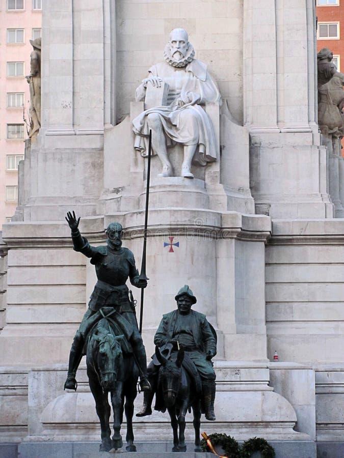 Miguel Cervantes monument - Don Quijote och Sancho Panza, Madrid, Spanien arkivbild