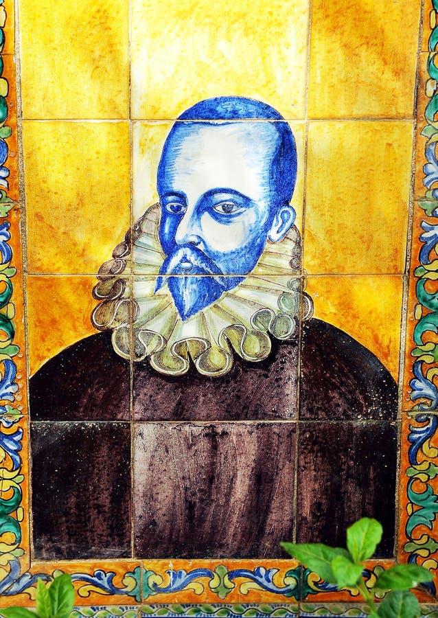 Miguel de Cervantes mosaik royaltyfri foto