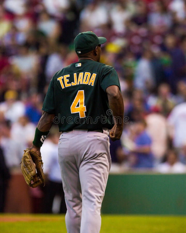 Miguel Tejada, infielder di Oakland A fotografia stock