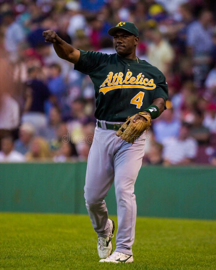 Miguel Tejada, interbase di Oakland Athletics immagini stock
