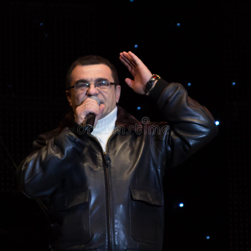 Mihai Mărgineanu. (singer) at New Years Eve 2014 concert organized by District 3, Bucharest royalty free stock image
