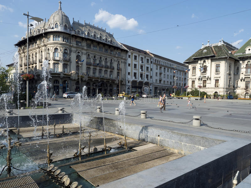 Mihai Viteazu广场,克拉约瓦,罗马尼亚 免版税图库摄影