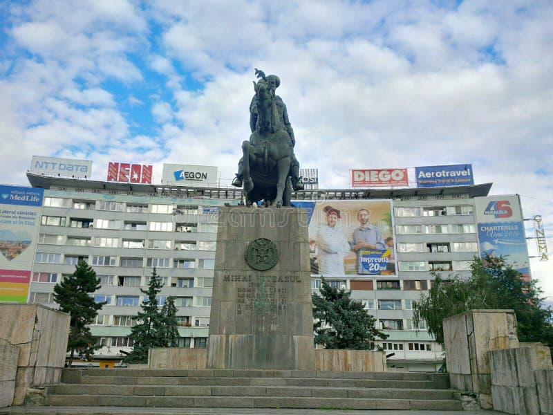 Mihai Viteazu Statue från Cluj-Napoca royaltyfria foton