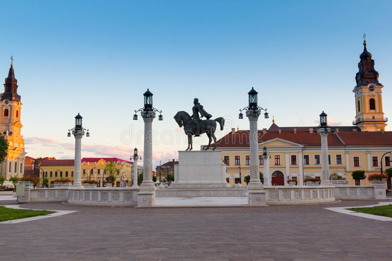 Mihai Viteazul Statue in Union Square by evening in Oradea royalty free stock image