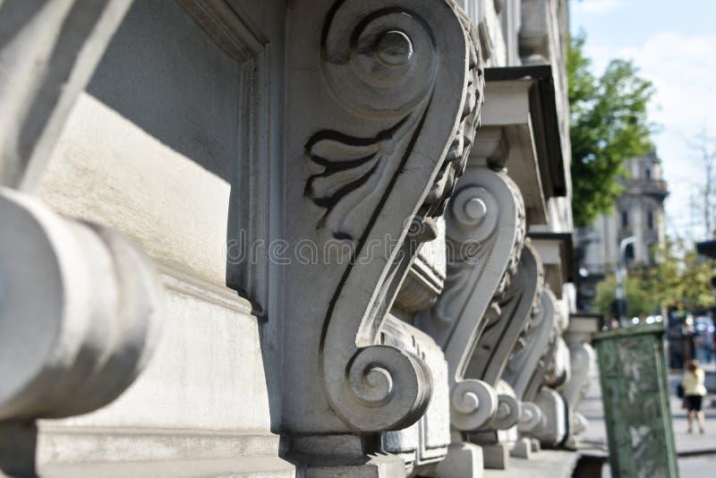 Mihailova на улице, исторические строя поперечные сечения Knez стоковая фотография
