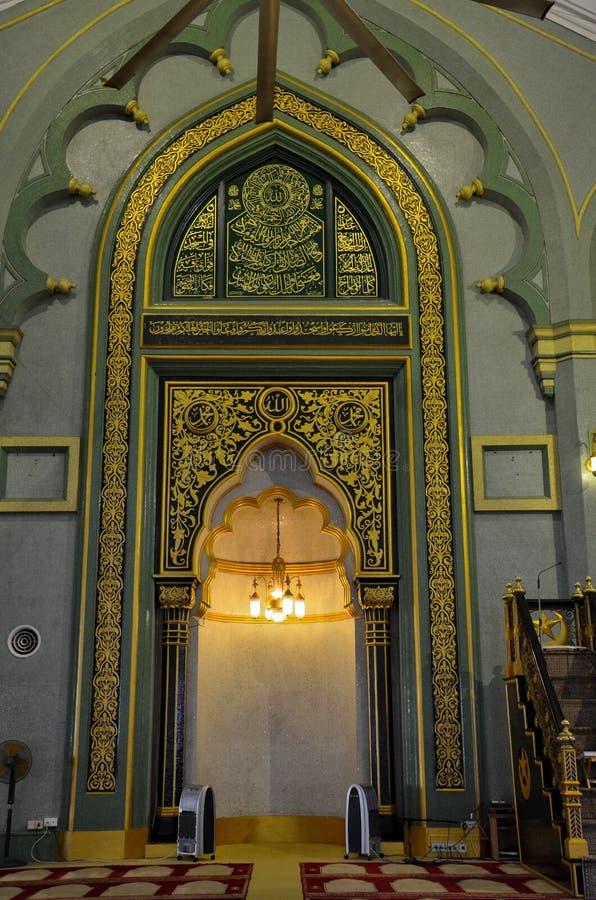 Mihrab de Sultanmoskee Singapore van het gebedgebied stock foto's