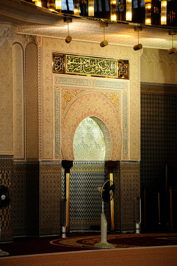 Mihrab of Malaysia National Mosque aka Masjid Negara royalty free stock images