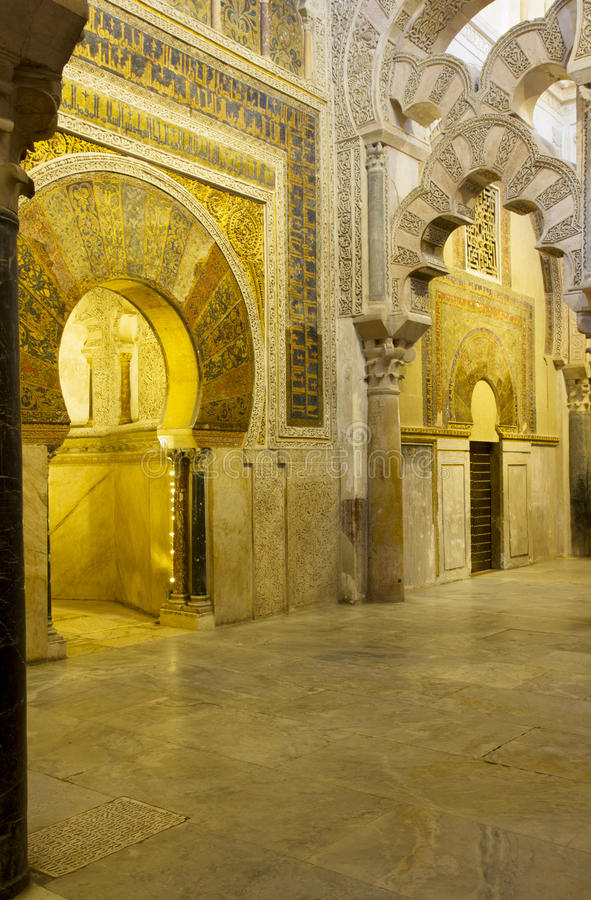 Mihrab of the Mezquita, Cordoba, Spain stock images