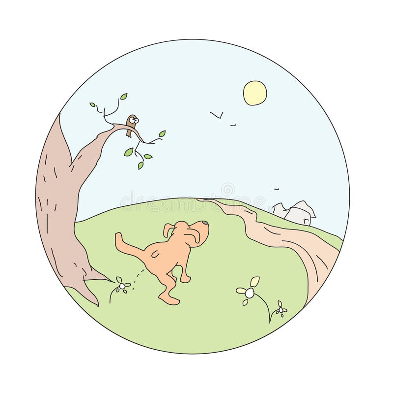 Mijando o cão ilustração stock