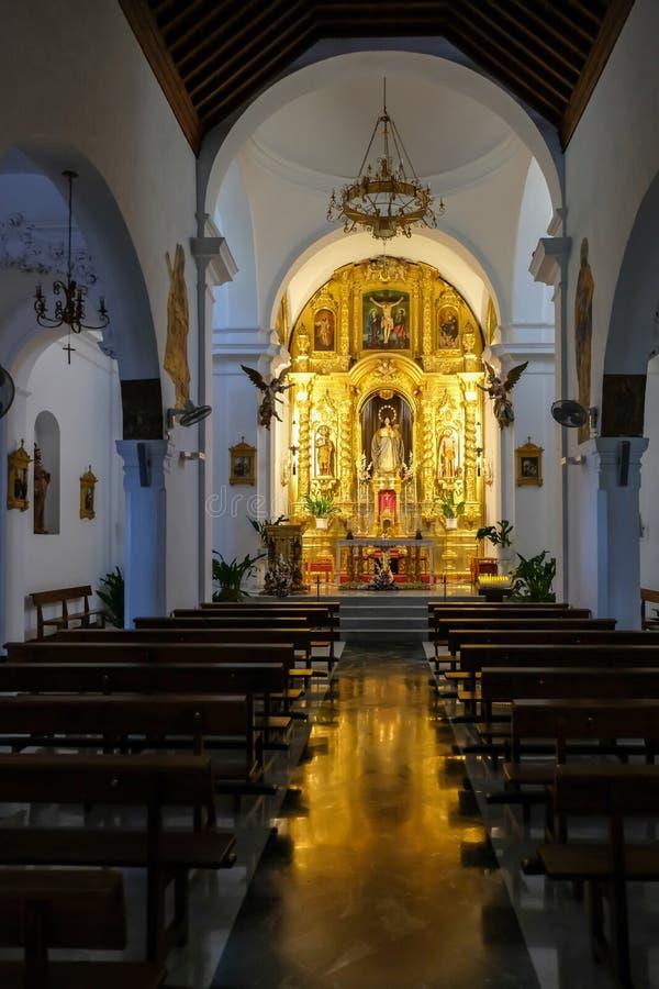 MIJAS, ANDALUCIA/SPAIN - 3 DE JULIO: Iglesia interior del Immacul imágenes de archivo libres de regalías