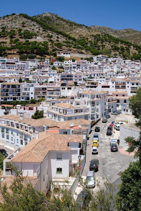 MIJAS, ANDALUCIA/SPAIN - 3. JULI: Ansicht von Mijas in Andalusien lizenzfreies stockfoto