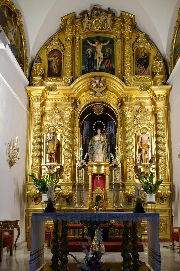 MIJAS, ANDALUCIA/SPAIN - 3 JULI: Binnenlandse Kerk van Immacul stock fotografie