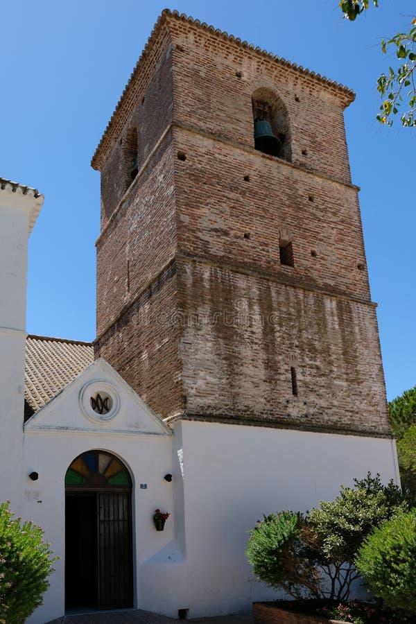 MIJAS ANDALUCIA/SPAIN - JULI 3: Kyrka av den obefläckade Concen arkivbilder
