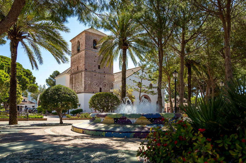 Mijas park and church royalty free stock images
