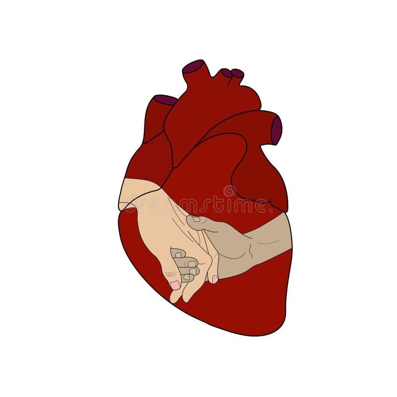 In mijn die pictogram van de hartliefde op witte achtergrond wordt geïsoleerd vector illustratie