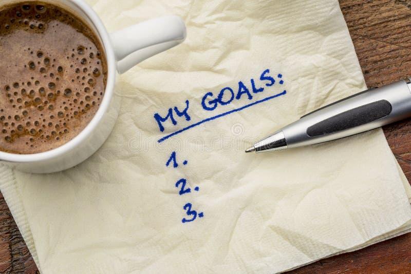 Mijn doelstellingen lijst op servet stock afbeeldingen