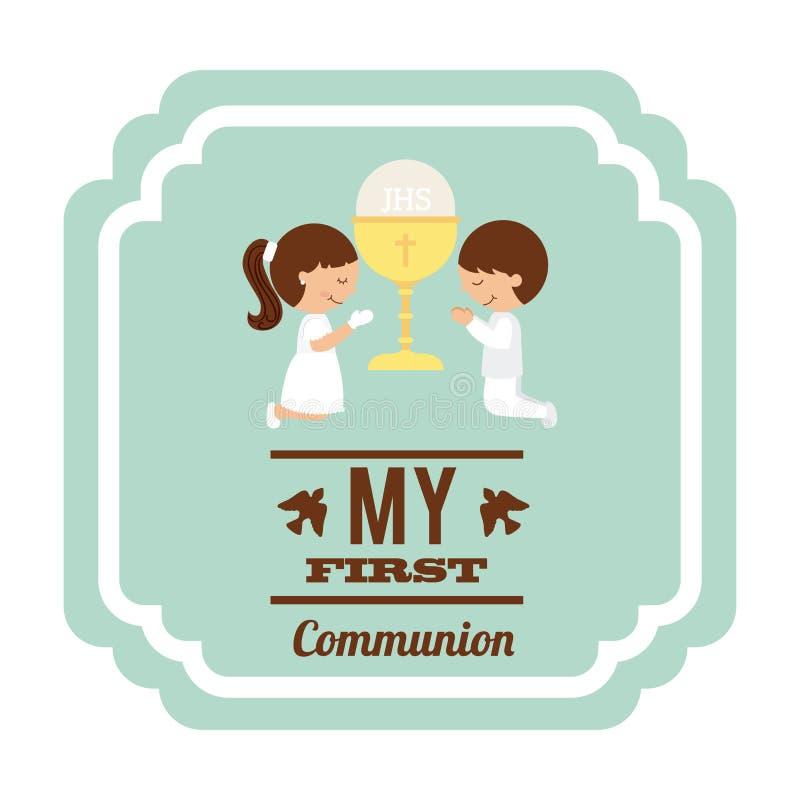 Mijn eerste kerkgemeenschap vector illustratie