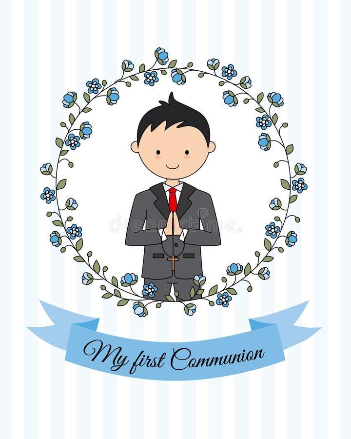 Mijn eerste kerkgemeenschapjongen royalty-vrije illustratie