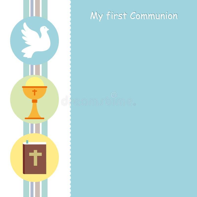Mijn eerste kerkgemeenschapkaart vector illustratie