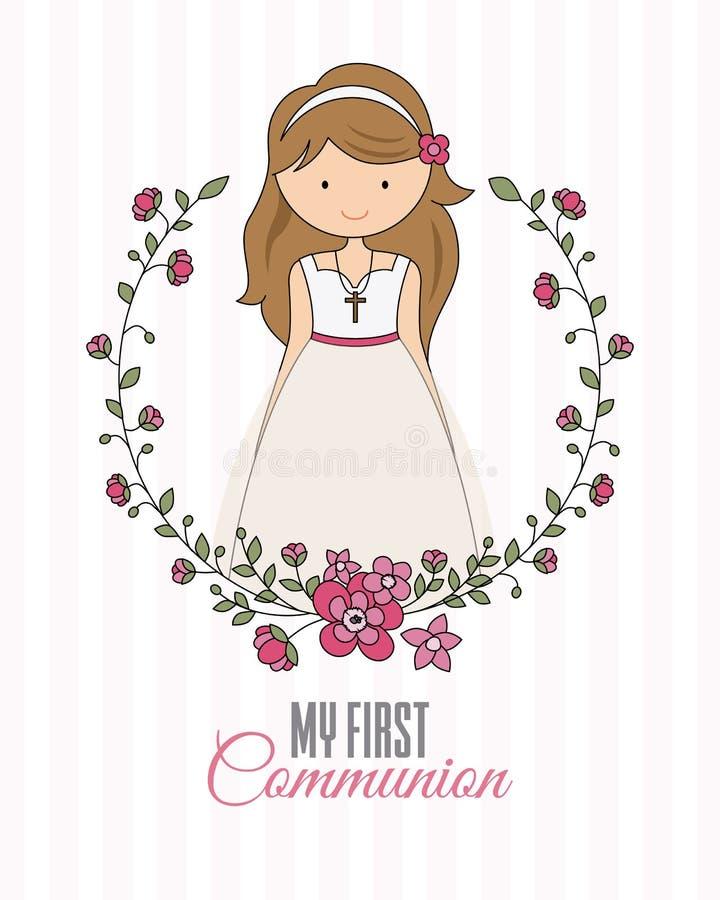 Mijn eerste kerkgemeenschapmeisje vector illustratie