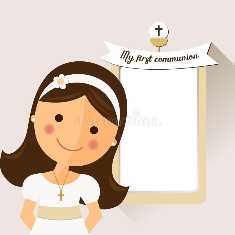 Mijn eerste kerkgemeenschapuitnodiging met bericht en voorgrondmeisjes royalty-vrije illustratie