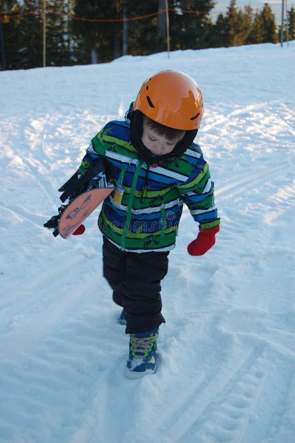 Mijn eerste snowboard les stock afbeelding