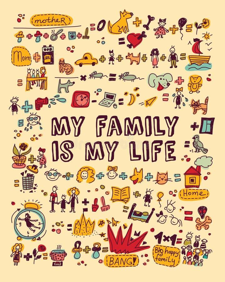 Mijn familie mijn het levenspictogrammen en voorwerpen kleurt vector illustratie