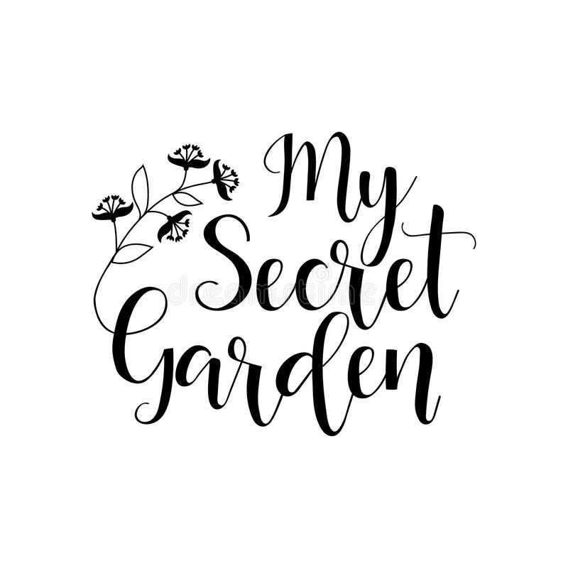 Mijn geheime tuin lettering Vector illustratie vector illustratie
