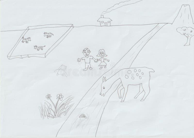 Mijn gf en I die en de schoonheid van moederaard wandelen bewonderen in het landbouwbedrijf vector illustratie