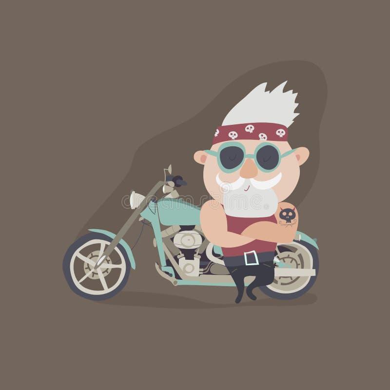 Mijn grootvader voor altijd jonge fietser royalty-vrije illustratie