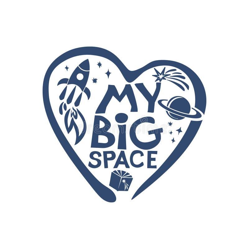 Mijn Grote Ruimte Heelal Ik houd van Kosmos Vlak grafisch symbool van de droom van ruimte, vector illustratie