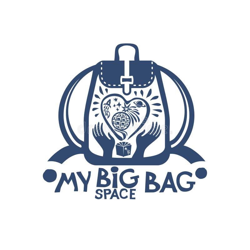 Mijn Grote ruimtezakrugzak met een groot hart en planeten in ruimte in uw handen royalty-vrije illustratie