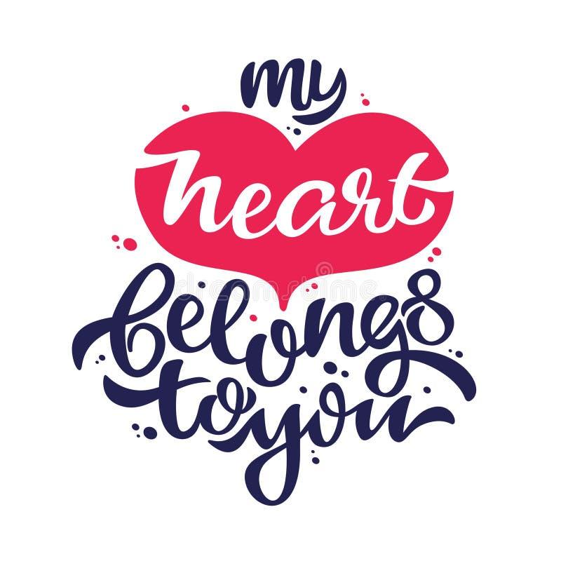 Mijn hart behoort tot u de banner van de liefdebekentenis stock illustratie