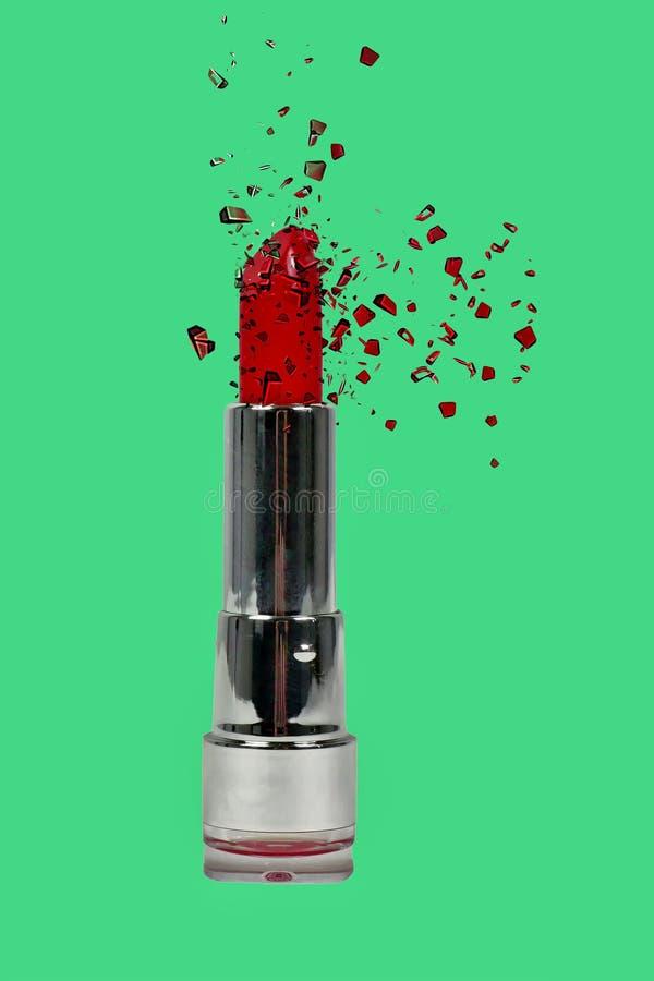 mijn heldere rode lippenstift brengt kleur aan het gezicht stock afbeelding