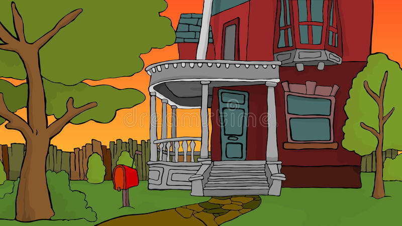 Mijn huis bij zonsondergang royalty-vrije illustratie