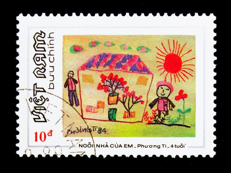 Mijn Huis die - door Phuong Ty, Vietnamese children'spijn schilderen stock afbeelding